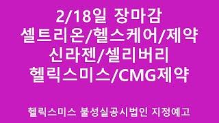 [주식투자]2/18일 장마감(셀트리온/헬스케어/제약/신…