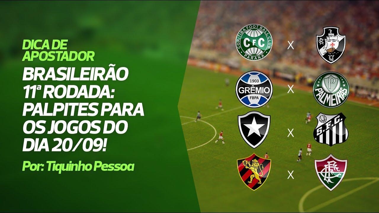Palpites Brasileirão 11ª rodada - Jogos 20/09/2020