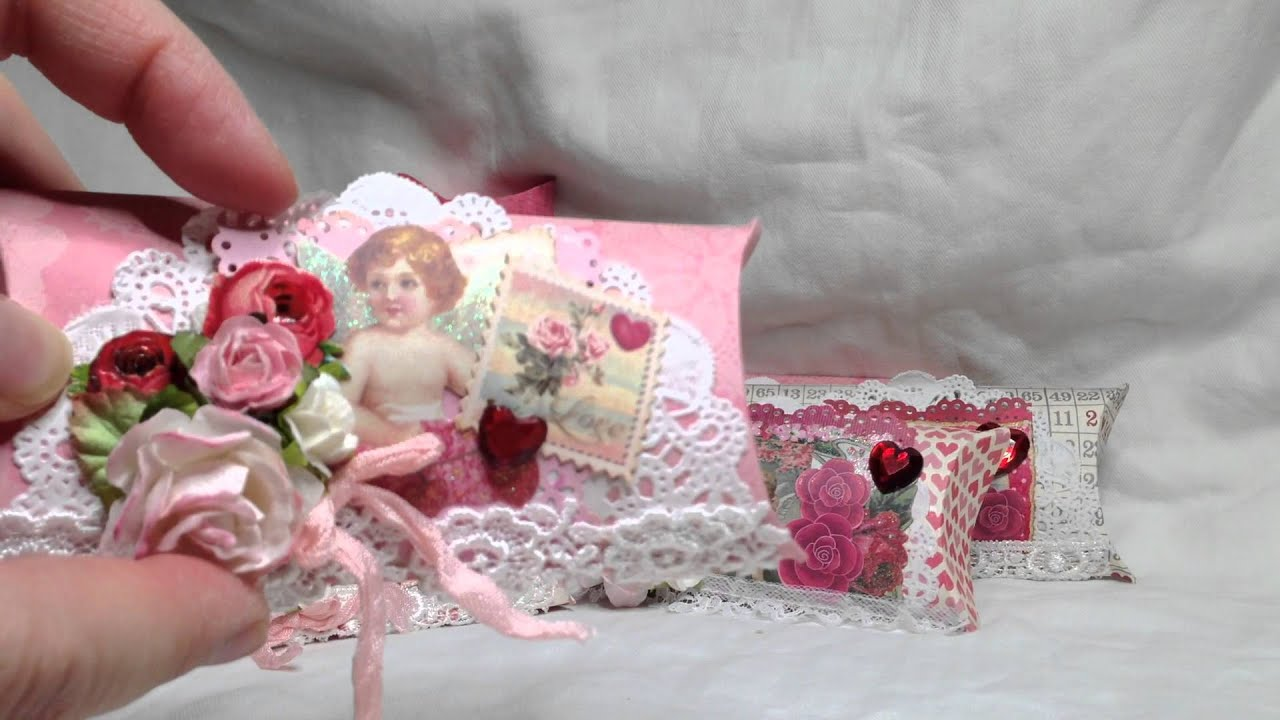Shabby Chic Valentine s Pillow Boxes - YouTube