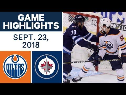 NHL Pre-season Highlights | Oilers vs. Jets - Sept. 23, 2018