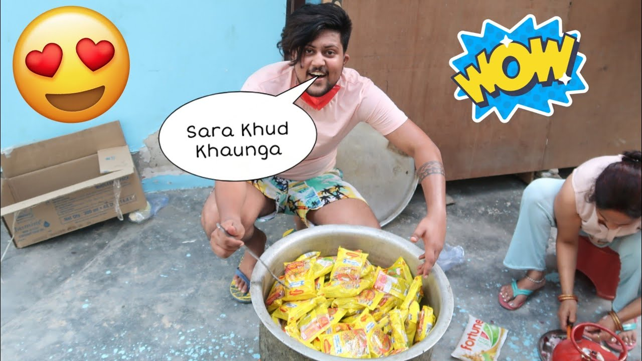 COOKING 100 MAGGI NOODLES FOR THE FIRST TIME😱😍 **EXCITED**