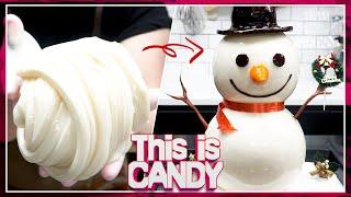 [설탕공예] 슈가슬라임으로 만든 눈사람 캐릭터 사탕 만…