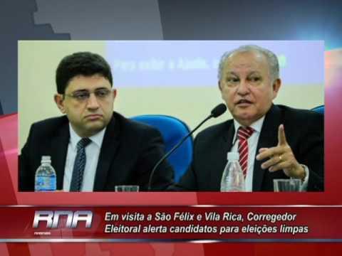 Em visita a São Félix e Vila Rica, Corregedor Eleitoral alerta candidatos para eleições limpas