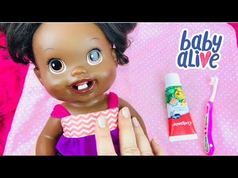 Baby Alive Doll Kelsey Brushes Her New Teeth