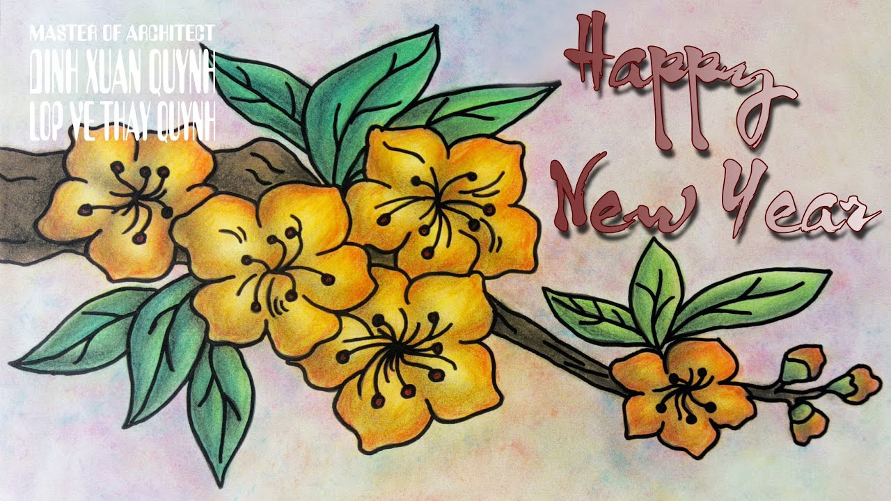 Happy New Year 2021 - drawing yellow apricot flower (vẽ ...