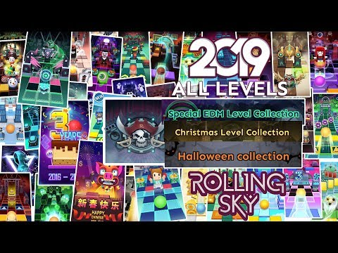 Rolling Sky All Levels 2019 100% Clear (All Skins,EDM,Christmas,Halloween,Minis) | SHAvibe