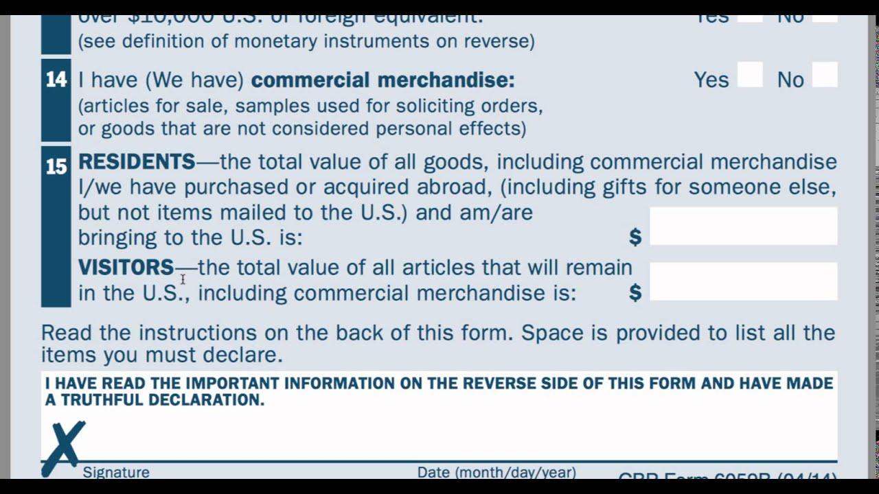 CBP Customs Declaration - YouTube