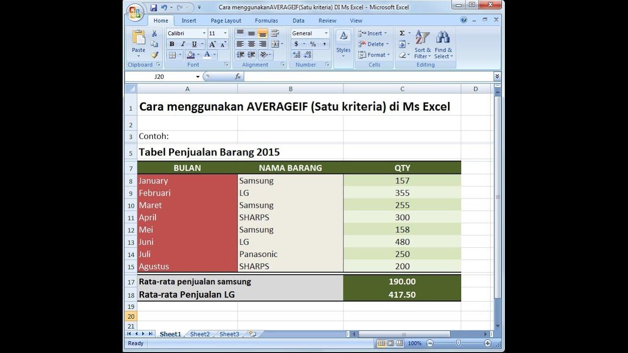 Excel 2007 Tutorial |Cara Menghitung Rata-rata dengan ...