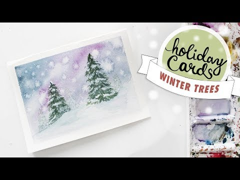 HOLIDAY CARD #4: Winter Tree Landscape Watercolour Tutorial (Wet on Wet)