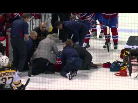 Zdeno Chara hit on Max Pacioretty (NHL, Boston Bruins [1] at Montreal Canadiens [4]) - 08/03/2011