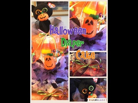 Halloween diaper cake, easy DIY 3 layer with cat topper How to Make Theme Cake Crafty Conjuring