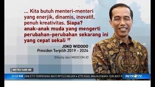 Menteri Muda Usia 20-40 Tahun di Kabinet Baru Jokowi Direspon Baik oleh Sejumlah Parpol