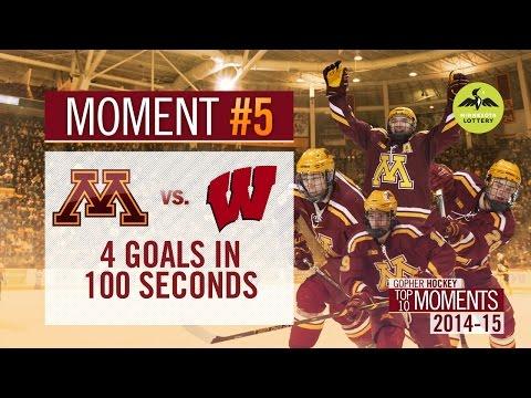 #5: Gophers Score 4 Goals In 100 Seconds At Wisconsin (Gopher Men's Hockey Top 10 Moments 2014-15)