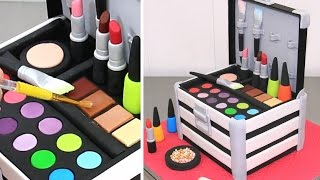 MAKE UP Cosmetics Box Cake  *Pastel Caja De Maquillaje by Cakes StepbyStep