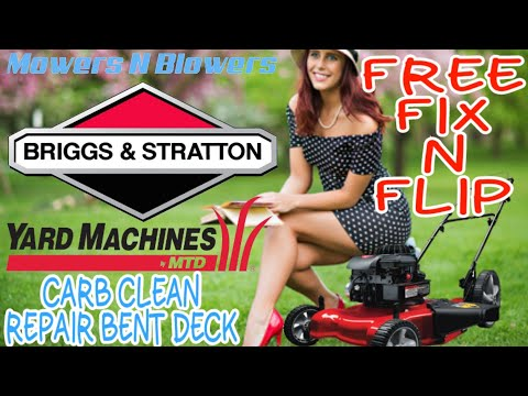FREE YARD MACHINES MTD BRIGGS & STRATTON 3.5HP PUSH LAWN MOWER CARBURETOR CLEAN BENT DECK REPAIR FIX