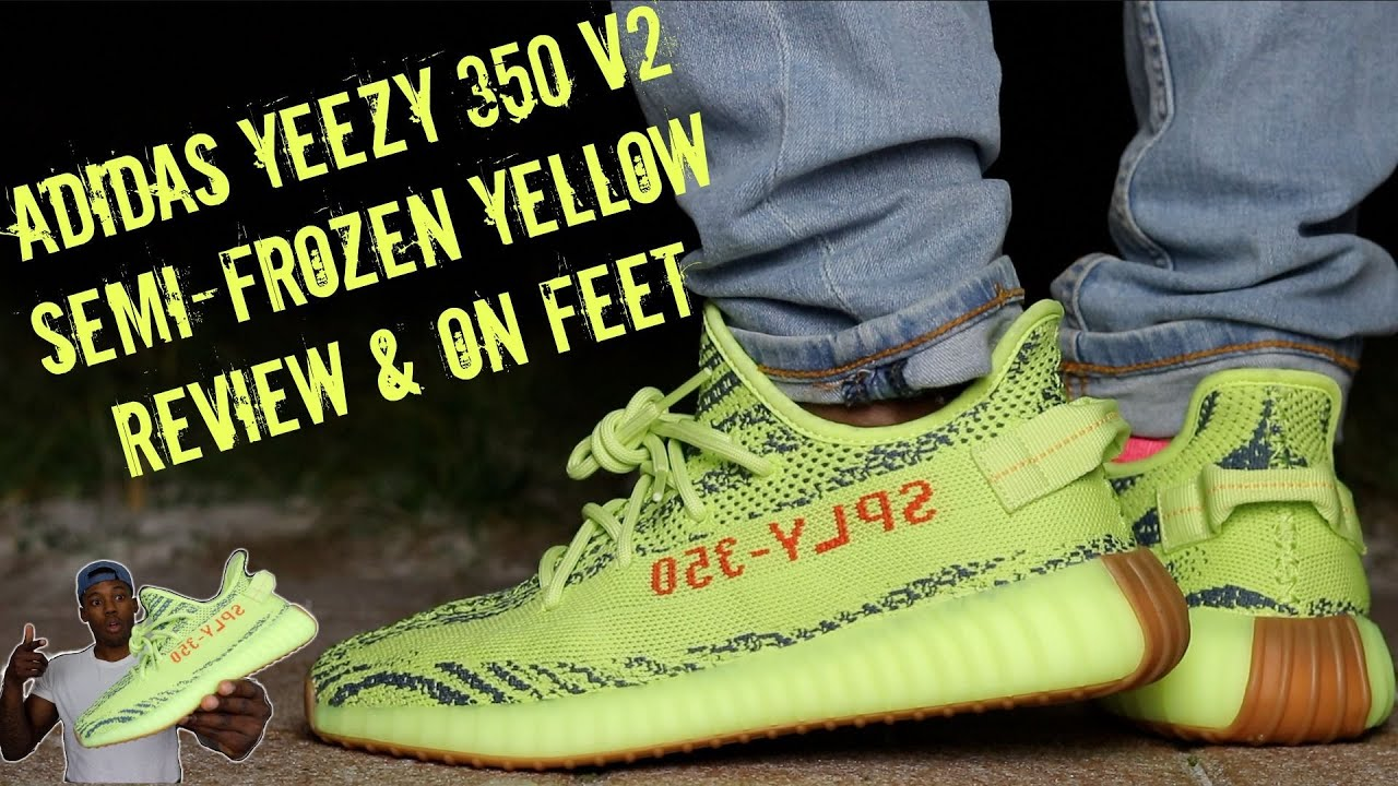 ADIDAS YEEZY 350 V2 SEMI-FROZEN YELLOW 2018 REVIEW   ON FEET! YEEZY OF THE  YEAR!  a37273ea5