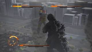 GODZILLA PS4 versus mode : Godzilla 90's ( spiral ) vs. Jet Jaguar vs. Mothra ( larva )