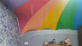 натяжной потолок в коридоре и в детской радуга