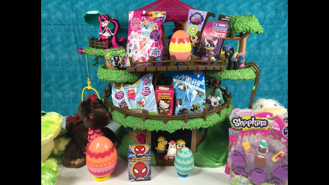 Blind Bag Treehouse Shopkins Kinder Play Doh Surprise Egg