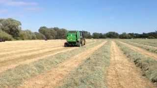 John Deere 6150R and 854 Round Baler Demonstration