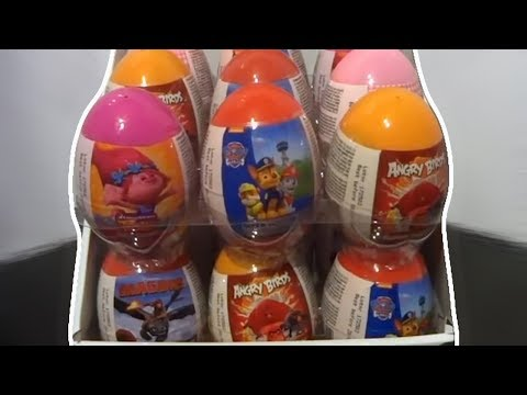 Trolls PAW Patrol How To Train Your Dragon Angry Birds 18 Kinders Surprise Eggs #109