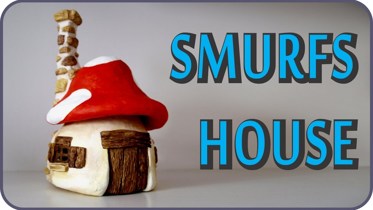 Diy Smurfs Mushroom House Jar Youtube