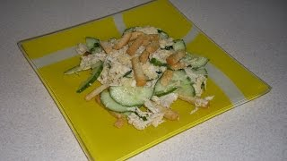 Салат с курицей и сухариками без майонеза