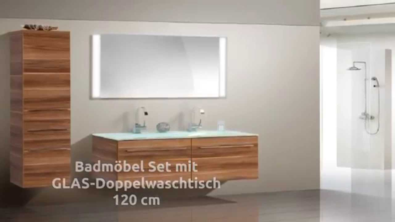 badm bel set mit glas doppelwaschtisch 120 cm youtube. Black Bedroom Furniture Sets. Home Design Ideas