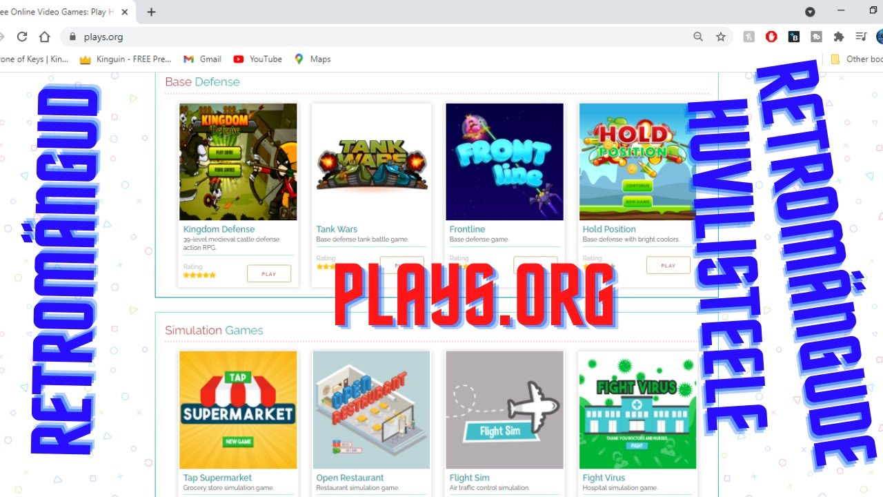 """plays.org """"Retromängud retromängude huvilistele"""" täiesti tasuta"""