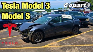 Looking At Totaled Wrecked Teslas Model 3, Model S At Copart Salvage Auction
