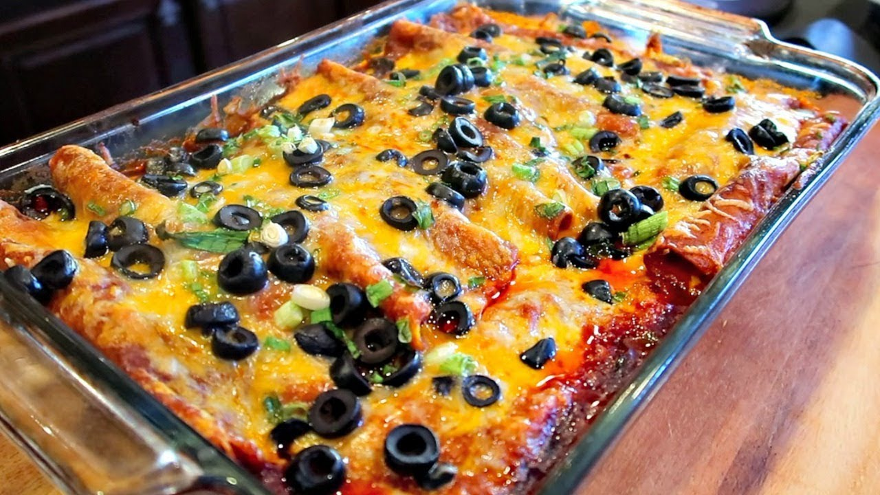 The Best Tex Mex Style Red Enchiladas With Ground Beef Recipe Youtube