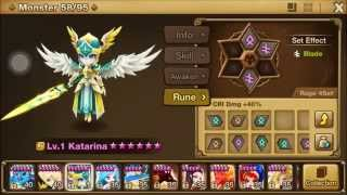 Summoners War- Fusing, awakening, 6 starring, and Rune-ing Wind Valkyrja/Katarina