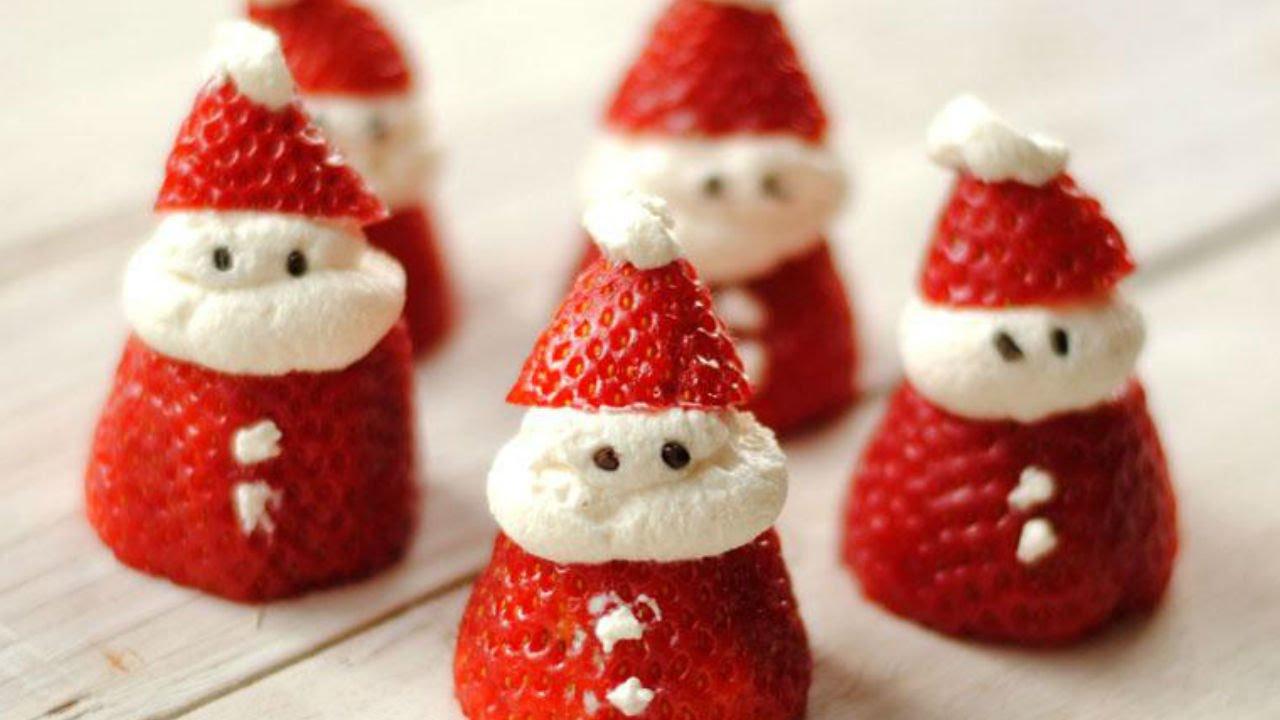 Santa claus de fresa y queso crema grinch de kiwi postres para navidad youtube - Postres navidad faciles ...