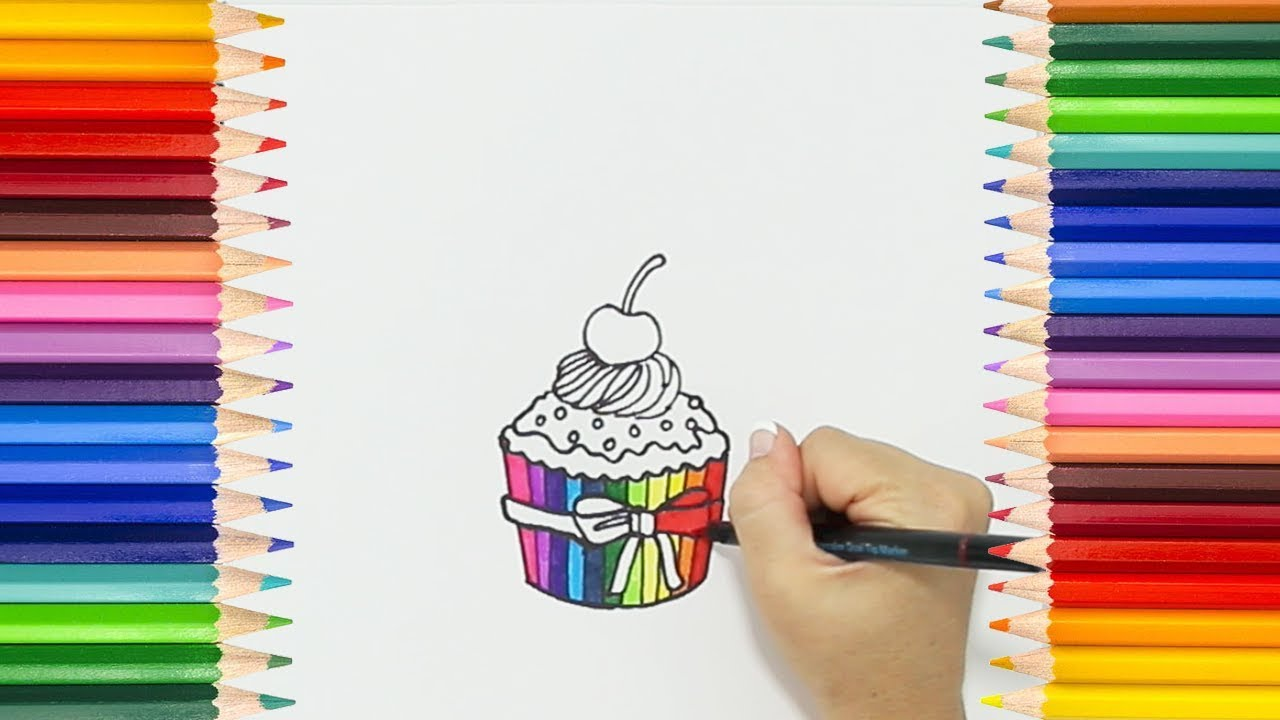 how to draw a rainbow cupcake