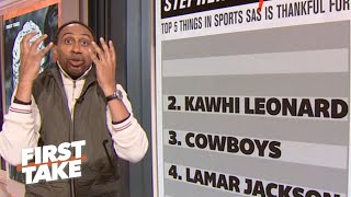 Stephen's A-List: Top 5 things in sports Stephen A. is thankful for | First Take
