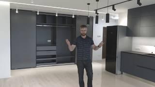Видео обзор мебели: Кухня под потолок серого цвета, шкаф-купе, прихожая, подвесная тумба. Кухни Киев