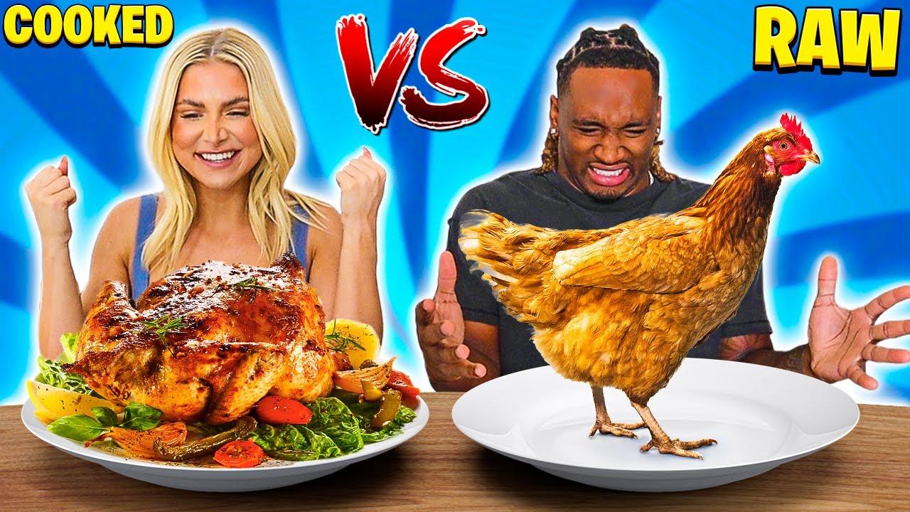 RAW VS COOKED FOOD CHALLENGE!
