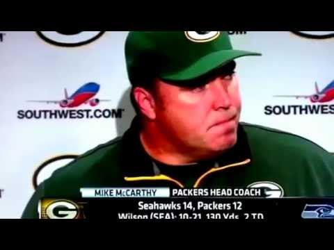 Packers Coach Mike McCarthy Post Game Interview After Seahawks Hail Mary YouTube