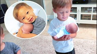 Our Kids Practice For Baby Number 3! (Adorable Reaction)