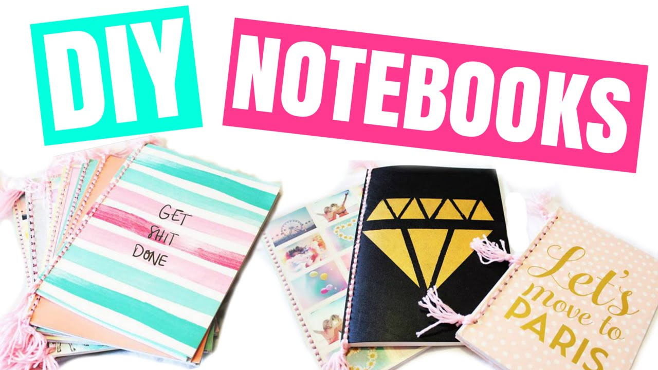 Diy notebook covers so your books and you will stand out at school - Diy Easy Back To School Notebooks Tumblr Inspired Notebooks Youtube