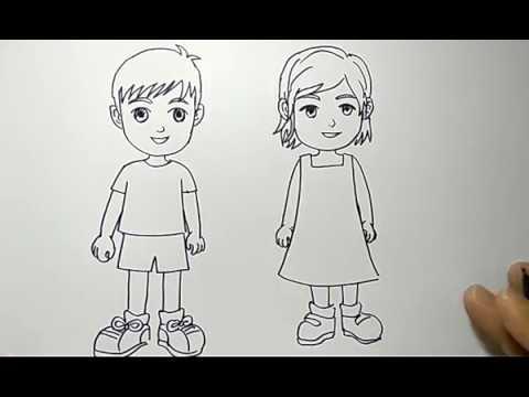cara menggambar orang anak cowok dan cewek dengan mudah