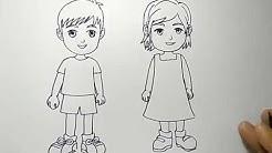 cara menggambar orang anak cowok dan cewek dengan mudah banget