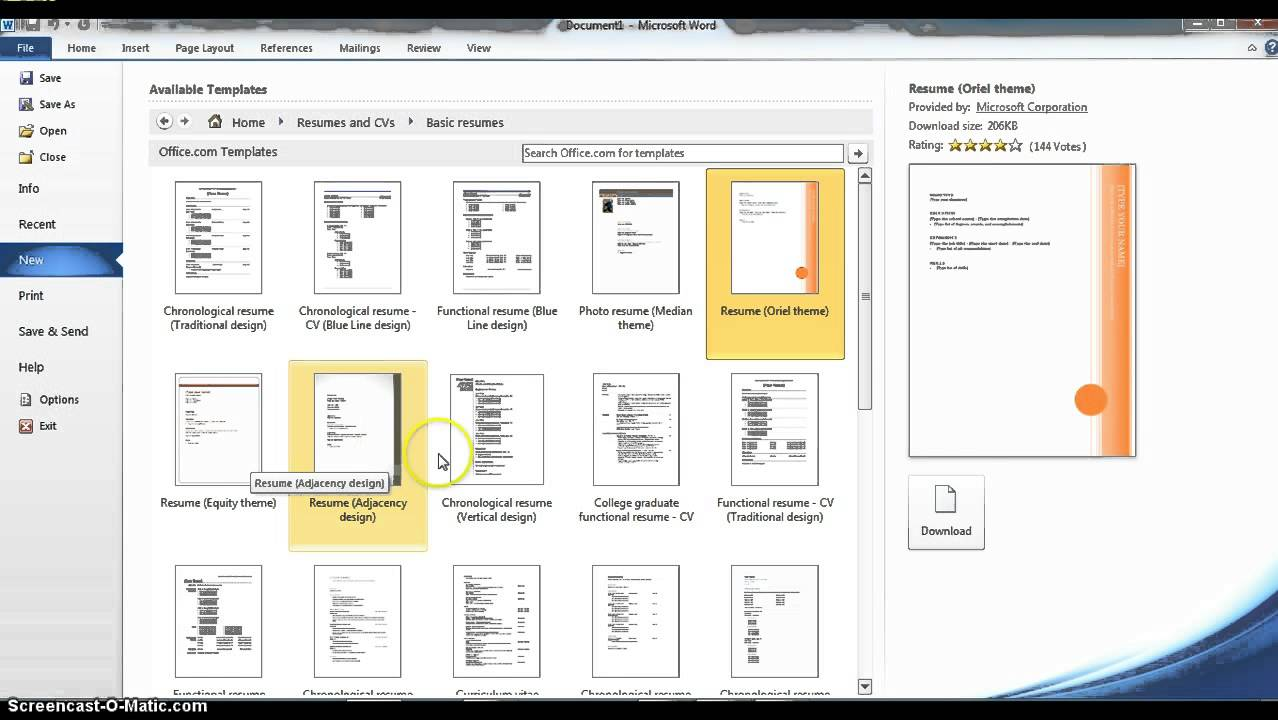 Using Microsoft Word Resume Templates Youtube