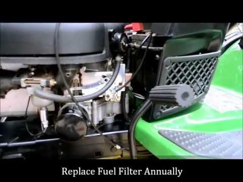 how to change a john deere lawn mower fuel filter youtube John Deere LA115 Manual