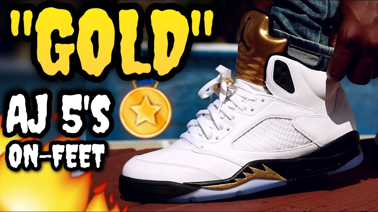 13e4fc403ad GOLD' AIR JORDAN 5 ON-FEET REVIEW! - YouTube