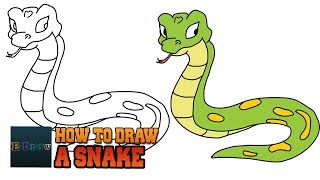 How to draw a Snake Cartoon Rattlesnake Easy step-by-step drawing for kids Things to Cute Drawings