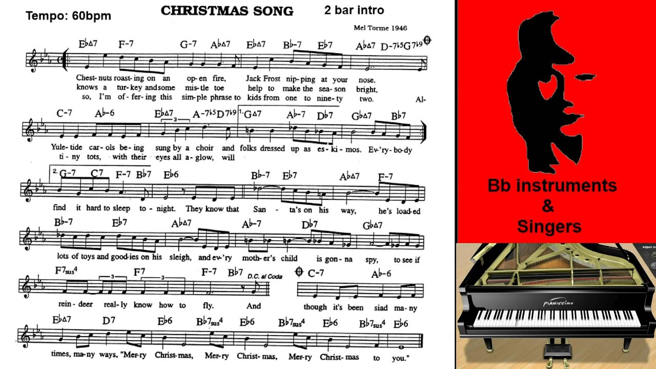 Christmas Song 60bpm Playalong Bb Instrument - YouTube