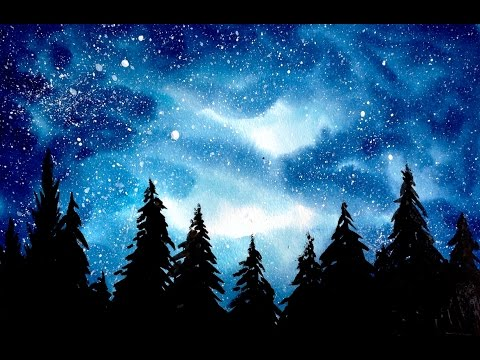 Simple watercolor galaxy forest painting tutorial youtube for How to paint galaxy