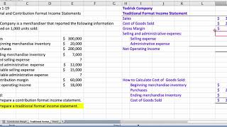 Problem 1-19 Traditional Income Statement