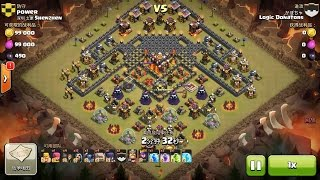 Clash of Clans TH10 vs TH10 FIVE Golem, Wizard, Witch & Pekka (GoWiWiPe) Clan War 3 Star Attack
